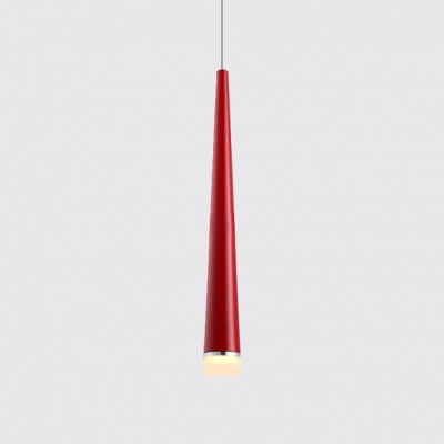 Red/Silver Cone Pendant Light Modern Style Aluminum 1 Head Downlight for Bar Cafe Restaurant