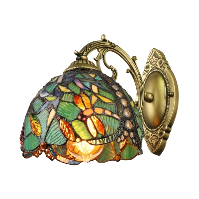 Turquoise Dragonfly Wall Sconce Tiffany Style Stained Glass Wall Light for Staircase