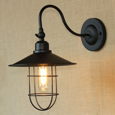 1 Light Wire Guard Wall Sconce Vintage Nautical Metal Accent Lighting Fixture in Black