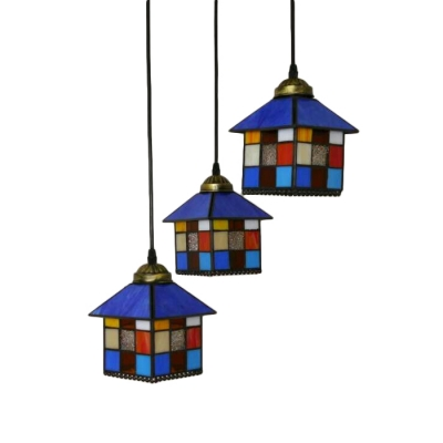 3 Lights Lodge Design Suspension Light Tiffany Style Stained Glass Pendant Lamp in Brass Finish