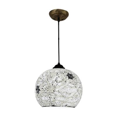 Orb Suspended Light Modernism Tiffany Metal 1 Bulb Decorative Drop Ceiling Lighting in Black Finish
