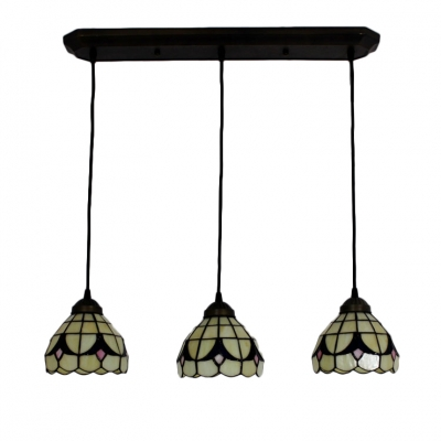 Adjustable 3 Heads Dome Hanging Lamp Tiffany Style Beige Glass Suspended Lamp for Dining Room