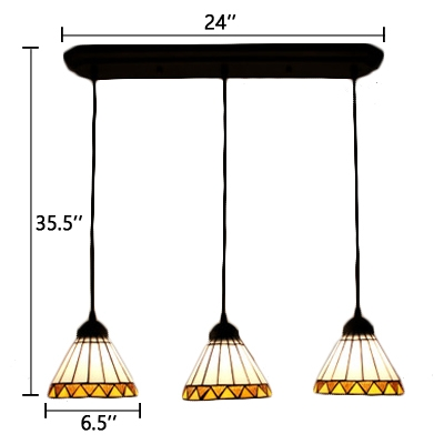 Adjustable 3 Lights Conical Hanging Lamp Tiffany Style White Glass Pendant Light for Porch