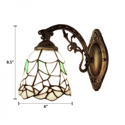 Antique Brass Bell Wall Sconce Tiffany Style Stained Glass Wall Light in Multicolor