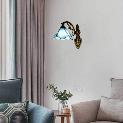 Aqua Petal Shape Wall Sconce Tiffany Style Stained Glass Wall Light for Bedroom Villa