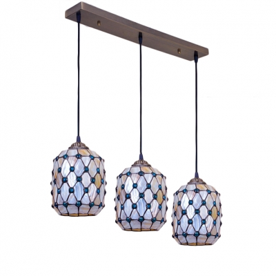 Blue Jeweled Suspended Light Tiffany Style Shelly 3 Heads Lighting Fixture for Living Room