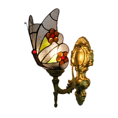 Butterfly Wall Lamp Lodge Tiffany Style Animal Wall Sconce Rippled Glass for Children Room