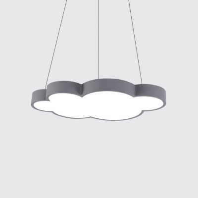 Cloud Shape LED Hanging Pendant Lights Kids Room Metal 1 Light Pendant Lamp in Acrylic