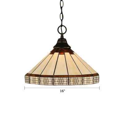 Geometric Chain Hung Pendant Light Mission Craftsman Stained Glass Drop Light in Beige