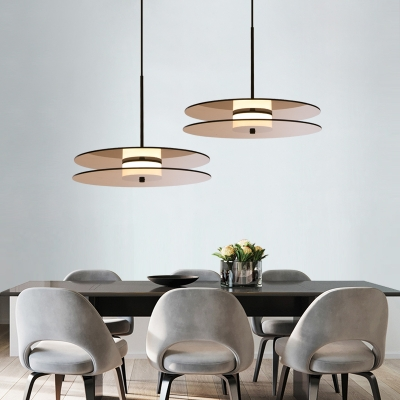Glass Disc Hanging Light Fixture Post Modern Style LED Drop Light for Dining Room Bar Counter