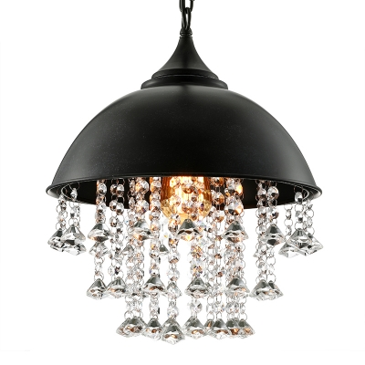 Retro Large Pendant Light With Hanging Crystal In Black Dome Shade For Restaurant Cafe Bedroom