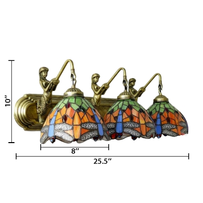 Multi-colors Dragonfly 3 Head Mermaid Lampbase Wall Lamp, 26