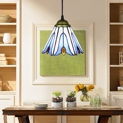 Tiffany Style Floral Hanging Light Stained Glass 1 Light Pendant Lamp in Blue for Bedroom
