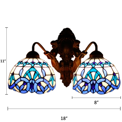 Tiffany Victorian Dome Wall Light Stained Glass 2 Lights Wall Mount Fixture in Blue for Porch