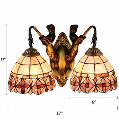 Tiffany Vintage Floral Wall Sconce Stained Glass 2 Lights Lighting Fixture in Brass Finish