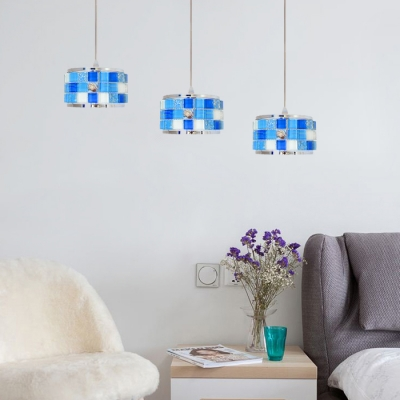Triple Head Mosaic Pendant Lamp Tiffany Style Acrylic Hanging Light in Blue for Bedroom