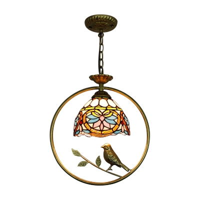 Victorian Dome Suspension Light Stained Glass 1 Bulb Bird Decoration Hanging Lamp in Multicolor