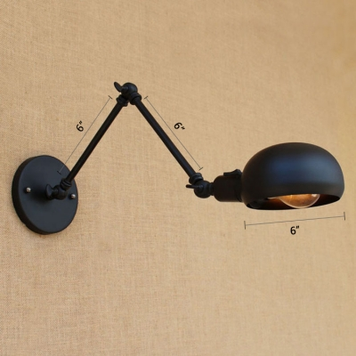 1 Bulb Arm Adjustable Wall Sconce Retro Style Iron Lighting Fixture in Black for Study Room