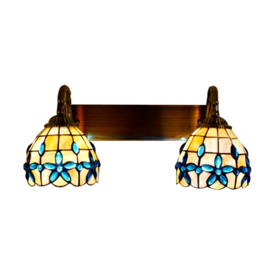 2 Lights Shelly Wall Mount Light Tiffany Style Metal Wall Light Sconce with Blue Bead Decoration