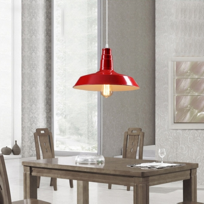 Cute Red Barn Style 1 Light Industrial LED Pendant Lighting