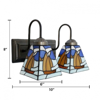 Mediterranean Tiffany Sailing Stained Glass Shade Sconce Ligting, 2 Light