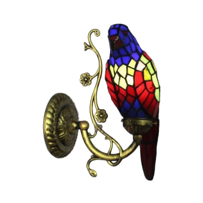 Navy Blue/Red Parrot Wall Lamp Lodge Tiffany Style Stained Glass Decorative Wall Sconce