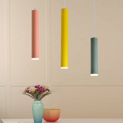 Painted Finish Tube Track Pendant Light Macaroon Style Aluminum 1 LED Hanging Lights in Green/Pink/Yellow