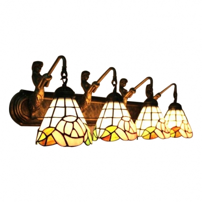 Pink Rosebud Wall Lamp Tiffany Traditional Stained Glass 4-Light Wall Mount Light