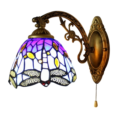 9 Inches High Tiffany Style Dragonfly Single Light  Wall Light for Bedside Hallway Restaurant