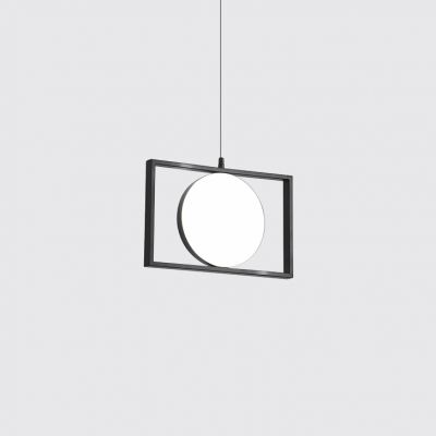 Adjustable LED Pendant Light with Round Shade Nordic Style Aluminium and Acrylic Hanging Lamp in Black