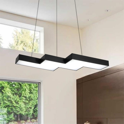 Black Linear LED Pendant Lighting Modern Metal Single Hanging Lamp 47\