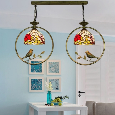 Brass Finish Floral Lighting Fixture Vintage Stained Glass 2 Heads Suspended Light for Hallway
