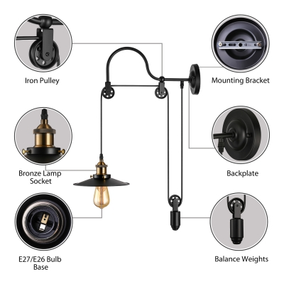 Conical Metal Shade Sconce Light Pulley Adjustable 1 Light Wall Light for Farmhouse Restaurant