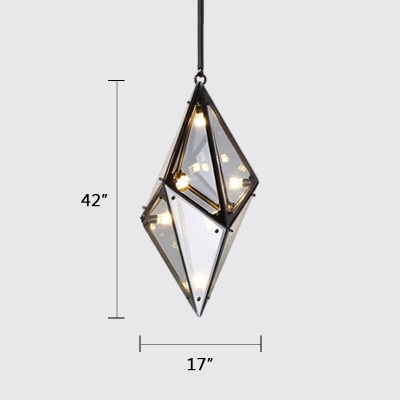 Diamond 8-Light Hanging Lighting Fume Glass Post Modern Hanging Light for Cafe Bar Restaurant