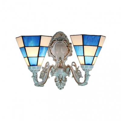 Tiffany Double Light Wall Sconce with Stained Glass Shade, 16-Inch Wide