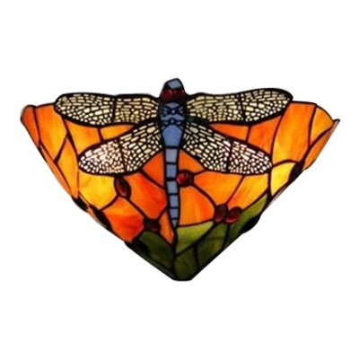 Gorgeous Dragonfly Orange Stained Glass Shade Hallway Two Light Wall Sconce, 12
