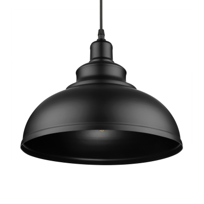 Industrial Metal Dome Pendant Light in Black for Kitchen Island Restaurant Dining Table
