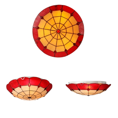 Lotus Shape Red Stained Glass Tiffany Flush Mount Ceiling Light 3 Sizes for Option