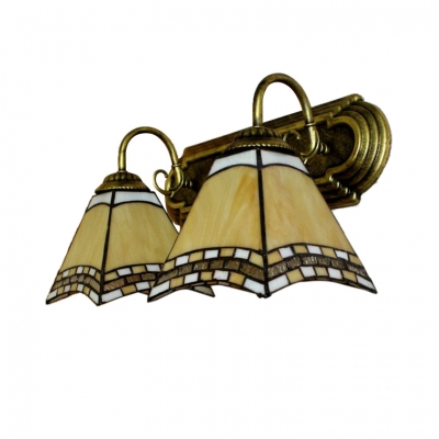 Mediterranean Style Wall Sconce in Tiffany Design with Two Light