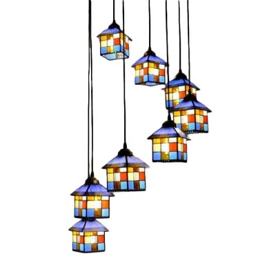 Multi Light Lodge Shaped Pendant Light Tiffany Style Stained Glass Hanging Light for Restaurant