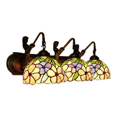 Multicolored Floral Wall Light Sconce Tiffany Country Style Stained Glass 3 Lights Wall Lamp