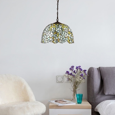 Navy Blue Dome Pendant Light Tiffany Style Stained Glass 1 Head Decoration Suspended Lamp