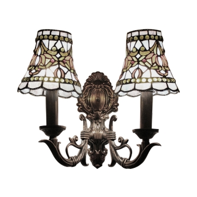 Stained Glass Candle Wall Mount Light Vintage Tiffany 2 Head Wall Light in Multicolor for Villa
