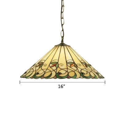 Tiffany Style Craftsman Coolie Drop Light Stained Glass 1 Light Hanging Lamp in Multicolor