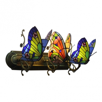 Triple Head Butterfly Wall Lamp Tiffany Retro Style Stained Glass Sconce Light In Blue And