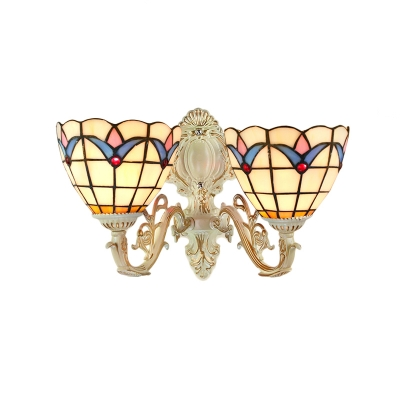Vintage Baroque Tiffany-Style Wall Sconce, 2-Light with Tulip Pattern Glass Shade, 16