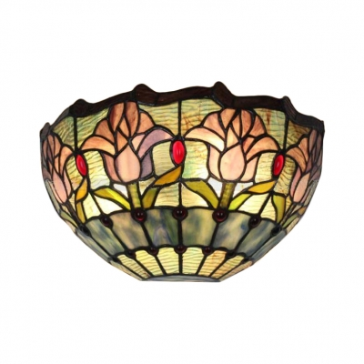 "12"" Wide Pink Tulip Pattern Art Glass Shade Wall Sconce Light for Restaurant Dining Room Hallway"
