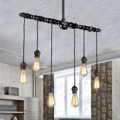 6 Lights Natural Iron 35 Wide Hanging Pipe Led Multi Light Pendant