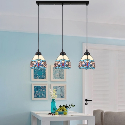 Adjustable 3 Lights Dome Pendant Light Tiffany Style Stained Glass Suspended Light in Blue