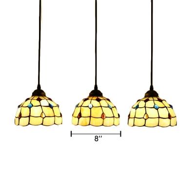 Amber Glass Dome Lighting Fixture Tiffany Retro Style Triple Pendant